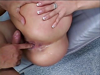 Black slut licks dude's balls and asshole, then swallows his whole cock