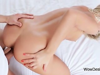 Erotic sex scene with blonde babe fucked from behind