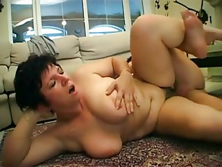 Mom with big boobs, hairy cunt & guy