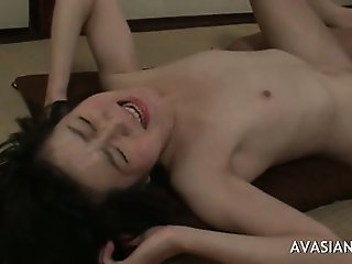 Asian girl takes anal