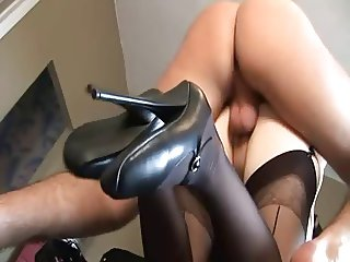British slut Alicia Rhodes gets fucked in a FFM threesome