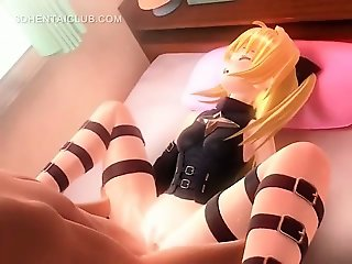 Cute hentai blonde riding horny cock on the floor