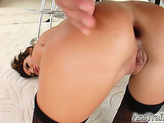 Rebeca gets fucked hard straight to the ass. She takes that cock all the way in and gapes like crazy