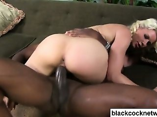 Bleach blonde whore loves black dick