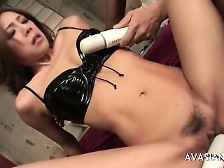 Asian pussy takes dildo