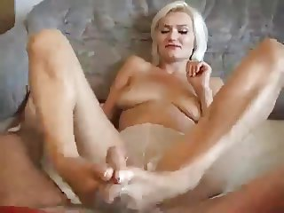 footjob into mouth cum