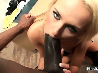 Horny blonde girl fucks awesome black part1
