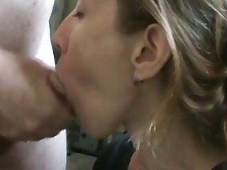 Very hot neighbor sucking cock and swallowing cum