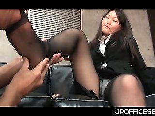 Appealing asian secretary stripped and teased by her horny boss