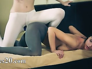 Amazing lovely lesbians in pantyhose