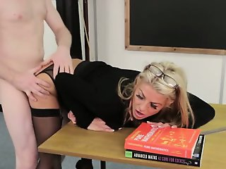 FEMDOM SPH blonde teacher fucked hard on desk