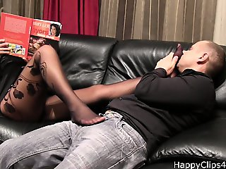 Grace stockinged foot smelling clip