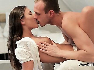 Teen perky boobs licked with lust in bed