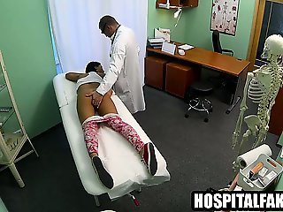 Hot brunette babe sucks and fucks her horny doctor