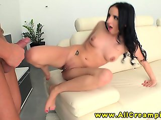 Creampie slut riding on his hard cock