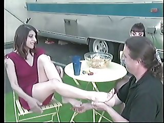 2 big tit hotties with foot fetish fooling around with a guy
