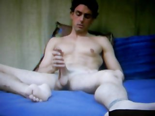 straight guy jerking huge thick cock and heavy balls