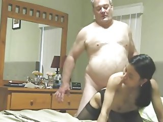 Chubby old guy fucks his asian slut