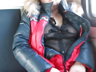 Touching tits in a see-throu blouse in a train