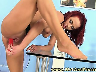 Horny pee fetish hottie solo stimulation