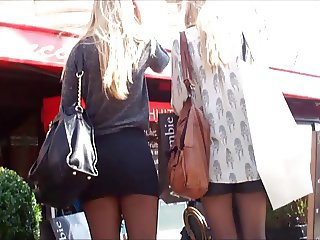 Blonde in micro skirt pantyhose