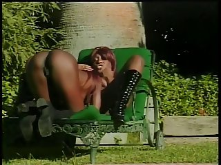 Randy black girls eat pussies and dildo fuck ech other on the grass