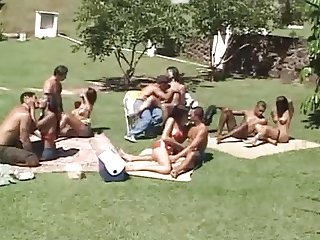 TGirl orgy on the Lawn