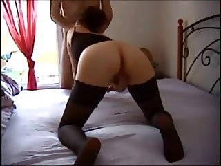 Wife in stockings gets fucked at home