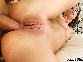Meet a sexy brunette with an ass to die for. She takes a cock straight to her ass before getting her butt pounded and swallowing a big load of cum