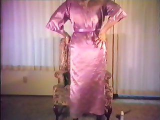 Satin Robe and Slip smoking and stroking 1