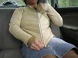 Redhead-BBW-Granny Outdoors in a Car by 2 Guys