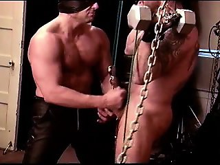 Ball bashing of sexy muscular hairy dude in my dungeon.