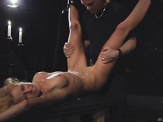 Blonde slut tightly bound and fucked