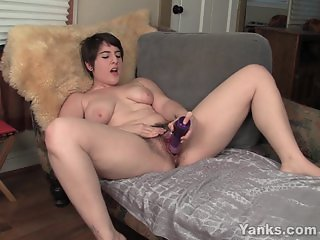 Busty Amber Toying Her Hairy Cunt