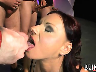 Babe's face is filled with ball cock juice