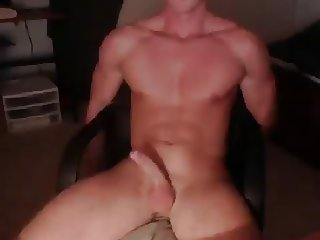 Hot muscular dude jerks off and cums alot