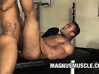 Muscle dudes Douglas Masters and Matheus Axell take a break