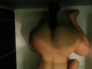 SHOWER TIME FUN... Real white wife cumming on huge BBC dildo