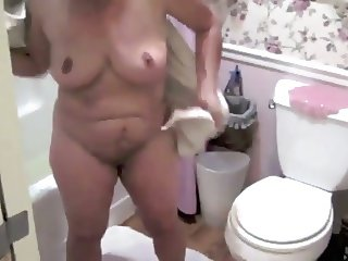 Mature Nude Female SS Drying Off After Bath Non-sexual