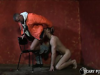 Tall, muscular skinhead gets his cock sucked then fucks him!