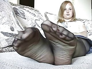 Chubby Teen in Sheer Pantyhose