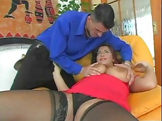 Mature big titty sucks & fucks