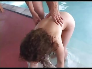 Big Butt Milf in pool sucking Coach