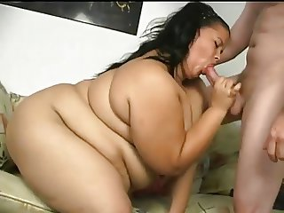 Horny BBW Latina is crazy for sucking cock and cum in mouth
