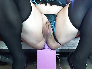 Sharigurl Teal Bustier cumming like a girl riding dildo