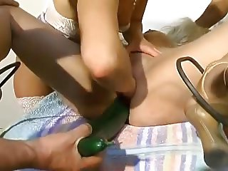 Amateur - BIG Anal Cucumber while Fisted Party Slut