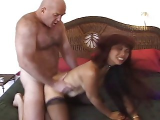 Slutty asian MILF Mimi fucks an ugly old bald guy