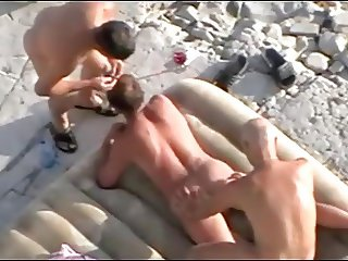 Watching gay threesome on nude beach