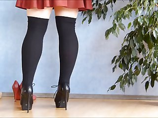 School girl skirt, knee highs and heels