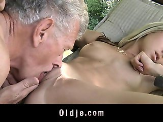 Young nasty blonde seduces and fucks grandpa